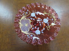 Vintage Bohemian Decorated Ruby Glass Pedestal Comport.