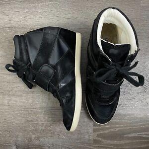 Olsenboye Womens Shoes Black Wedge Heel Sneakers Lace Up Black Size 8.5 M