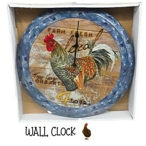 New Farmhouse Chicken Metal Wall Clock Decor