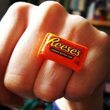 Unique REESE'S PEANUT BUTTER CUPS RING cool DESIGNER fab! CHOCOLATE adjustable