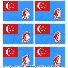 SINGAPORE AirForce RSAF 1973-90 Flag Mobile Cell Phone Mini Stickers, Decals x6