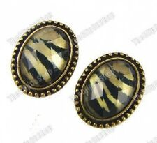 CLIP ON vintage brass RETRO TIGER PRINT animal FACET OVAL EARRINGS antique gold