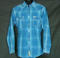 Larry Mahan Cowboy Collection Mens Western Shirt M Blue Plaid LS Pearl Snaps