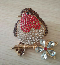 Gorgeous Brooch Redbreast Robin Bird Leaves Ruby Crystal Gold Tone Winter Pin UK