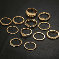 12Pcs Punk Midi Gold Color Finger Ring Set for Women Knuckle Rings Jewelry
