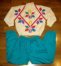 Vtg 80s SLADE Color Block MEDIUM neon Windbreaker TRACK SUIT Jacket Coat Pants M