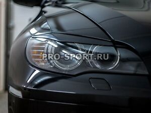 BMW X6 E71 2008-2014 eyebrow, eyelids, cilia front lights, pair, unpainted,  abs