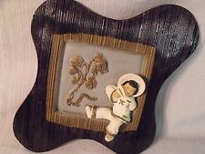 """1953 Universal Statuary Co. 14"""" Asian Girl and Scenery Chalkware Wall Plaque"""