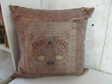 """Authentic Made in India 15"""" Silk Pillow Embroidered Front with Red Back"""