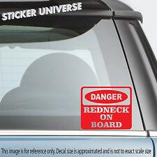 DANGER REDNECK On Board Funny Car Window Decal Sticker Hillbilly White Trash 062