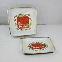 Vintage 1970's Japanese Lacquerware 2 Piece Serving Merry Christmas Trays
