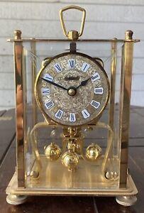 KERN Vintage Brass Pendulum Anniversary Carriage Osculating Rectangular Clock