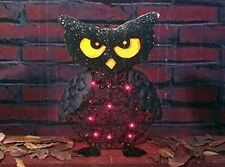 "Owl Lighted Glittering Sculpture 20"" Tall 20 Pre-Attached Lights On Metal Frame"