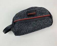 Vintage Givenchy Carbon Tweed Toiletry Bag Red Accent on Black White Mens
