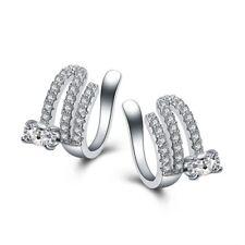 Fashion Zircon CZ Women's Wedding Party Stud Silver Ear Earrings Clip Earring