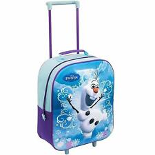 DISNEY FROZEN SCHOOL BAG TRAVEL TROLLEY WHEELS FOLDING HANDLE WITH OLAF PICTURE