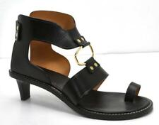 ISABEL MARANT Womens TEONY Black Smooth-Leather Gold Open-Toe Heel Sandals $845