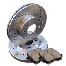 A0272 2 Performance Drilled Brake Rotors and 4 Ceramic Pads F