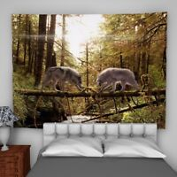 Wolves Forest Tapestry Wall Hanging Mandala Bedspread Indian Poster