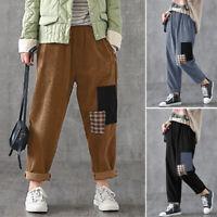 ZANZEA UK Womens High Waist Corduroy Pants Casual Loose Patchwork Harem Trousers
