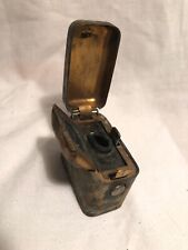 ANTIQUE BRASS PORTABLE INKWELL WW1? VICTORIAN?