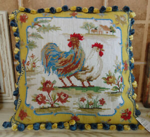 """16"""" Beautiful Colorful Country Life Hand Crafted Rooster Hen Needlepoint Pillow"""