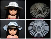 "Natural or White Straw Hat 14"" Doll Clothes Fit American Girl Wellie Wishers"