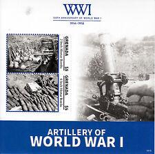 Grenada 2014 Gomma integra, non linguellato WWI WW1 Prima Guerra Mondiale Artiglieria Mortaio BOMBE 2 V S/S FRANCOBOLLI
