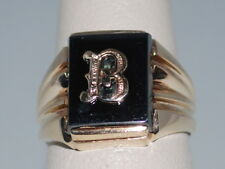 10k Gold signet ring with the letter B on a hematite gemstone