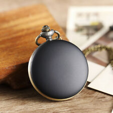 Vintage Simple Black Quartz Pocket Watches Women Men Necklace Chain Retro Watch
