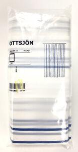 """Ikea Ottsjon White Blue Striped Shower Curtain Water Repellent 71x71"""" New"""