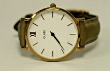 Cluse Women's CL30002 Minuit Gold Case White Dial brown Leather Band Watch #14
