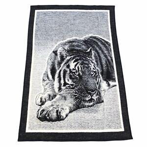 Vintage Biederlack Tiger Fleece Blanket Reversible 79x52 Black White Made in USA
