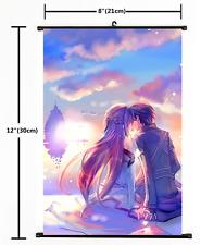 Anime Sword Art Online Kirito Asuna Wall Poster Scroll Home Decor Cosplay 2217