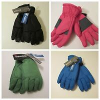 Girls Boys Igloos Insulated Waterproof Thinsulate Black Blue Green Pink Gloves