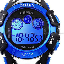 OHSEN Mens Light Date Alarm Digital Military Waterproof Sport Quartz Watch Blue