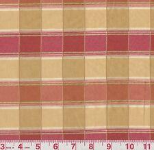 Fabricut Miles Davis Grapefruit Pink Yellow Woven Plaid Home Decor Fabric BTY
