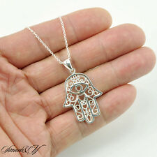 "Solid Sterling Silver 925 Womens Ladies Hamsa Evil Eye Pendant Necklace 16""-18"""