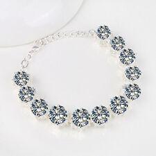 Romantic Valentine Gift Jewelry Natural Round White topaz Silver Charm Bracelets