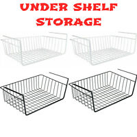 2PCS LARGE UNDER SHELF STORAGE BASKET RACK KITCHEN CUPBOARD ORGANISER HEAVY DUTY