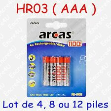 """Piles Accus Rechargeables AAA LR03 - dispo aussi en version Alcaline """" jetable """""""