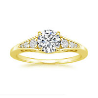 0.61 Ct Round Genuine Diamond Engagement Ring 14K Real Yellow Gold Size L M N O