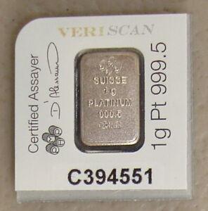 Pamp Suisse 1 Gram Platinum Fortuna Bullion Bar .9995 Fine From Multigram Sheet