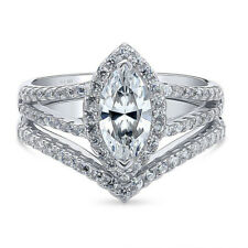 Silver Stackable Ring Sz.6 Marquise 1.5 Ctw Cubic Zirconia