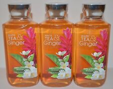 LOT OF 3 BATH & BODY WORKS WHITE TEA GINGER SHOWER GEL WASH BUBBLE 10 OZ NEW