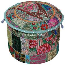 """Ethnic Round Fabric Ottoman Patchwork Embroidered Pouf Cover Bohemian 18"""" Green"""