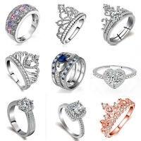 925 Silver Plated Crystal Engagement Wedding Fashion Women Jewelry Party Gifts