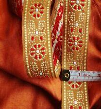 "Red Gold Champagne JACQUARD Embroidered Trim Ribbon Lace Sari Border 1 3/8"" USA"