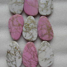 10 White and Pink with Gold Line Effect Cylinder Pattern Beads Size 15 mm- 25 mm