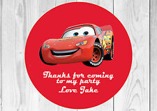 35 x Personalised Cars Lightning McQueen Birthday Party Stickers Thank You Seals